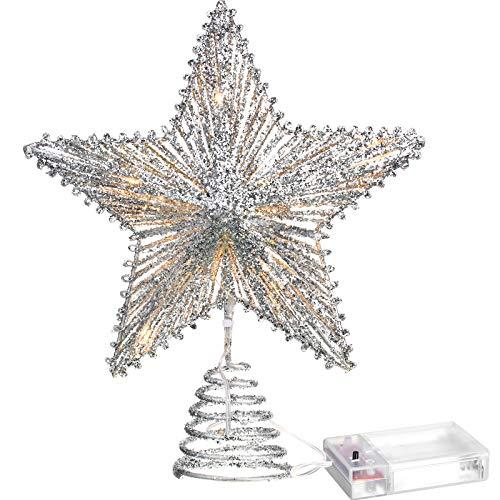 Aoriher 20 Licht 10 Zoll Weihnachten Stern Baum Spitze Batteriebetriebene Baum Spitze mit 20 Mini LED Lichter für Weihnachten Saisonale Dekoration