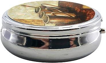 Cxjff 60mm Metal Pill Box Three Grids Pill Dispenser Portable Lightweight Medicine Box for Adults Children (Black Bottom P...