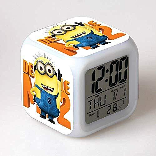 GXYtable cloth Süße Minion Wecker glühende LED-Farbwechsel Wecker Kids Multifunctio Toys Digital Wecker Uhren