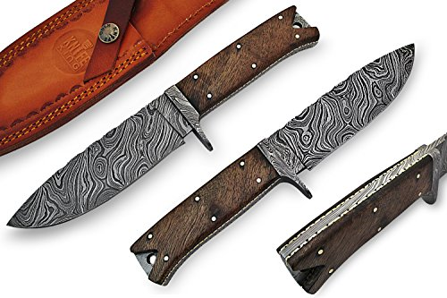 Knife King Custom Damast Bowie Messer Jagdmesser Mit Lederscheide