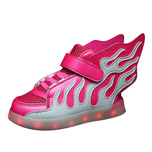 Kinder LED Schuhe, USB Aufladen Fashion High-Top Sneakers Runder Kopf Junge Mädchen Schuhe Beleuchtete Schuhe mit Fluegel