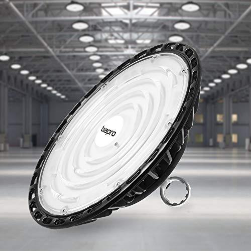 100W LED Strahler Industrielampe, bapro UFO LED Werkstattlampe 10000LM Hallenstrahler, IP65 Wasserdichte 120°Abstrahlwinkel Hallenbeleuchtung 6500K, Lampen LED High Bay Licht für Garage Industrie