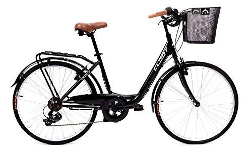 CLOOT Bicicletas de Paseo Relax Negra-Bici Paseo con Cambio Shimano 6V