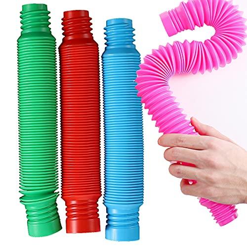 Los Niños Hacen Estallar Los Juguetes Sensoriales de Los Tubos, Juguetes Multicolores de la Persona Agitada del Tubo Elástico para Los Niños Autistas (4 Pack XL)