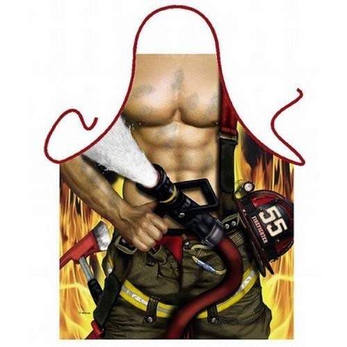 ITATI - Delantal de bombero para barbacoa y cocina, diseño de bombero