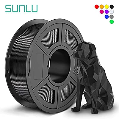 SUNLU SPLA 3D Filament 1.75mm for 3D Printer & 3D Pens, 1KG (2.2LBS) SPLA Filament Tolerance Accuracy +/- 0.02 mm, Black