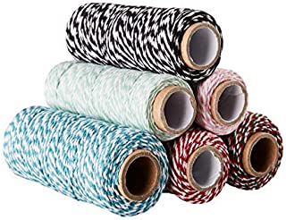 Bakers Twine - 6-Pack Twine Cord, Cotton Cording, Gift Twine String, Rope, Twine Spool, for Christmas Gift Wrapping, Crafts, Home Easter Festive Decoration, Packaging, Scrapbooking, Total 328 Yards
