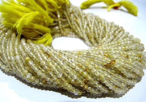Shree_Narayani Cuentas de oro natural rutiladas de 2,5 mm Rondelle facetas de 13 pulgadas de largo semi precioso de color dorado perlas vendidas por hebra de piedra natal de 2 hebras