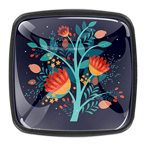 Pomo de cristal cuadrado con diseño floral para armario, con tornillos, 1.18 x 0.82 x 0.78 pulgadas para el hogar y la oficina (0.4 piezas)