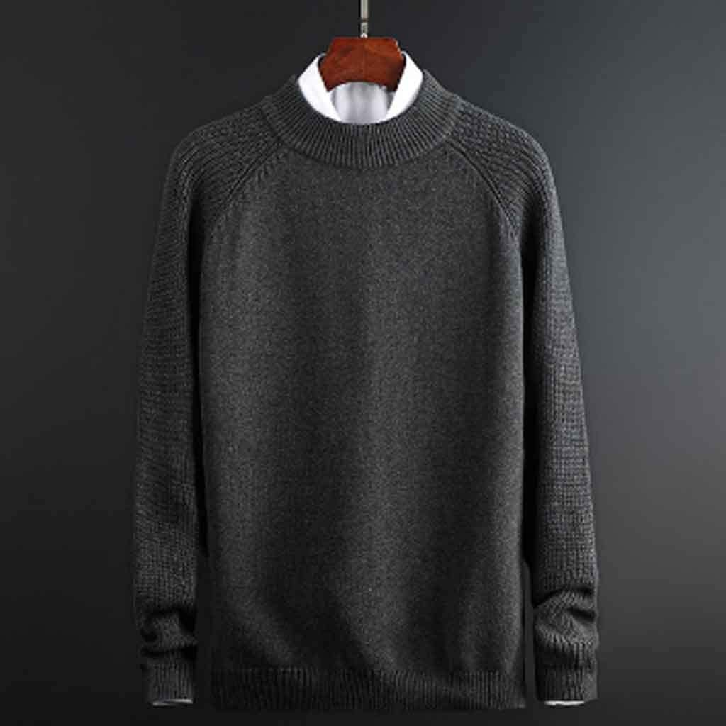 ZYING Mens Autumn Casual Sweaters Cotton Knitted Solid Color Slim Sweaters Long Sleeve Round Collar Male Warm Pullovers (Color : Style 2)