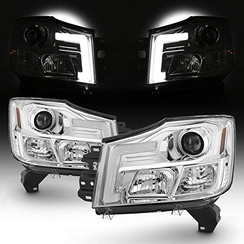 [C-Tube Style] For 2004-2015 Titan / 04-07 Armada LED Projector Chrome Headlights Driver+Passenger Pair