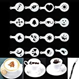 HeroNeo® 16Pcs Creative Nice Coffee Barista Stencils Template Strew Pad Duster