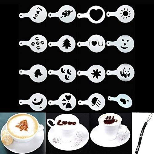 HeroNeo - Juego de plantillas para decoración de café (16 unidades)