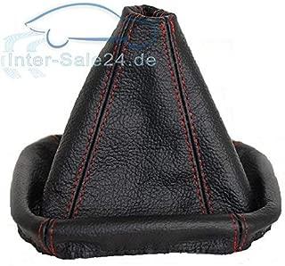 Intersale L/&P A086 Funda Saco Cuero Piel Genuina Negro con Costura roja Rojo de Palanca de Cambios Compatible con BMW e30 e34 e36 Cambio Velocidad velocidades Marchas Saco de conmutaci/ón