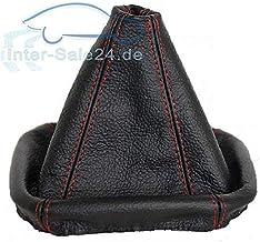 L&P A0026 Funda saco cuero de 100% real piel genuina negro con costura roja rojo de palanca de cambios cambio velocidad velocidades marchas saco de conmutación