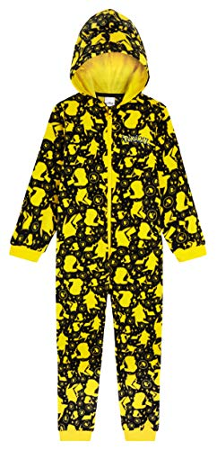 Pokemon Jumpsuit Kinder, Pikachu Einteiler Onesie Kinder Jungen 4-14 Jahre, Fleece Overall Kostüm mit Kapuze, Geschenke für Kinder (Gelb/Schwarz, 13-14 Jahre)