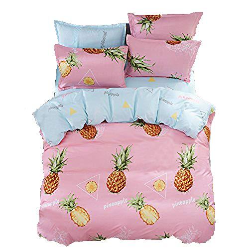 KFZ Tropical Pineapple Floral Design Bedding Set [4pcs Twin Size Bedding 60