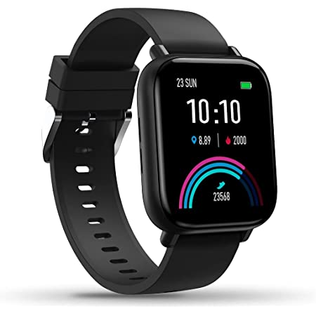 Gionee STYLFIT GSW6 Smartwatch with Bluetooth Calling and Music, Built-in Mic & Speaker, Multiple Watch Faces, SpO2 & 24 * 7 Heart Rate Monitoring, Full Touch Control(Matt Black), Regular