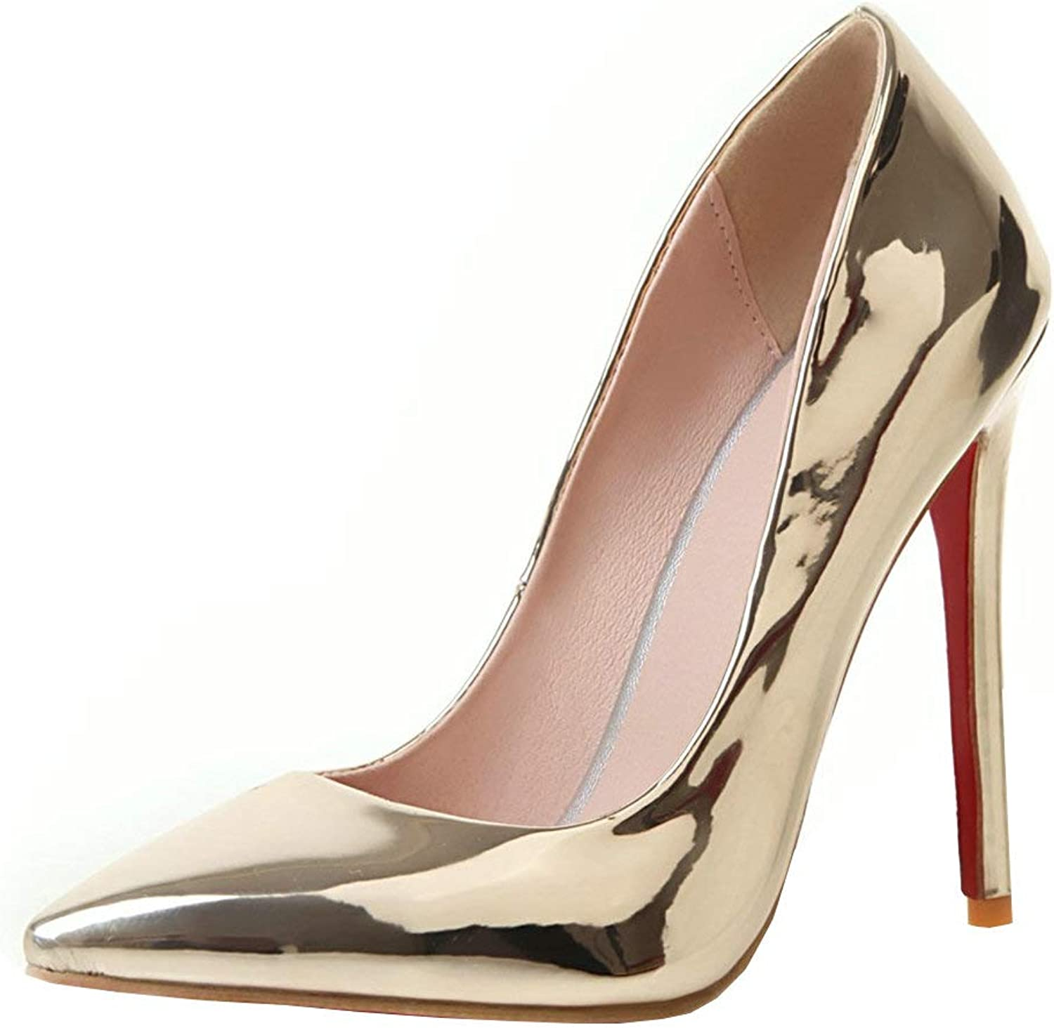 KIKIVA Women Pointed Toe Stiletto High Heel Pumps Patent Leather Party Court shoes