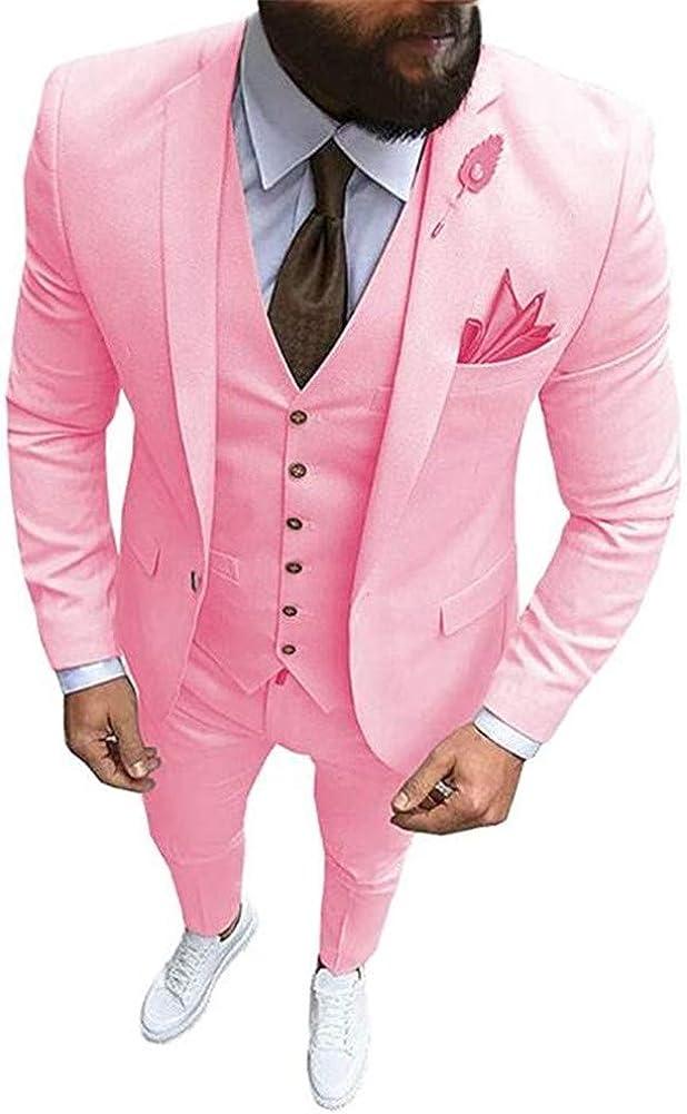 Notch Lapel Men Suits 3Pcs Slim Fit Blazer Prom Grooms Wedding Tuxedo Custom Made