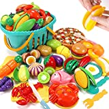 KaeKid Cutting Play Food Sets for Kids Kitchen, Pretend Play Kitchen Accessories with Basket, Cutting Fruit, Vegetable, Fast Food and Seafood, Educational Toys for Toddlers Boys Girls Age 3+