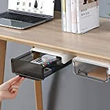 COZYWELL Self-Adhesive Under Desk Drawer Slide-out, Add a Drawer Under Desk, Under Mount Desk Drawer, Office Organizers and Storage Drawers Under Mounted(Black)