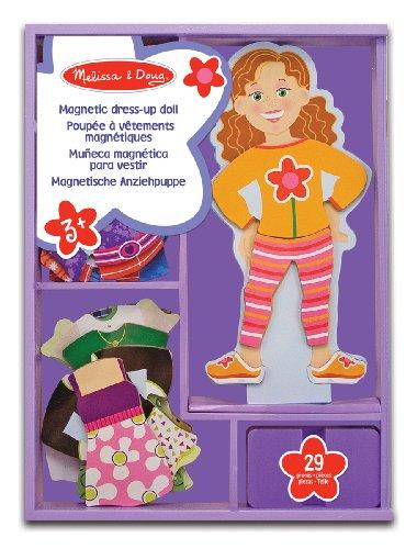 Melissa & Doug- Maggie Bambola in Legno con Guardaroba Magnetizzato, Multicolore, 13552