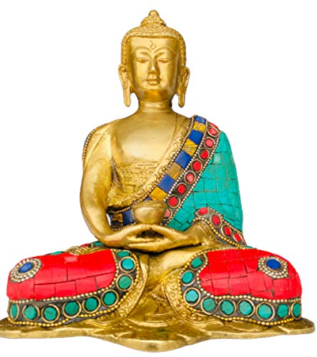 QT S Buddha Brass Statue Stone Finish Meditation Figurine Antique Tibetan Buddha Idol for Peace, Meditation & Protection Traditional Siddhartha Sculpture Handmade in Nepal & Famous in India China Thai