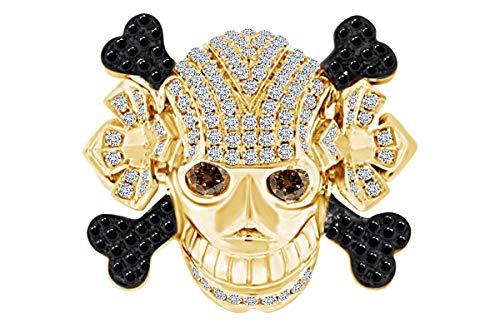 2.20 Carat (Cttw) Round Cut Black, Brown & White Natural Diamond Men's Skull Band Ring In 14k Solid Yellow Gold Ring