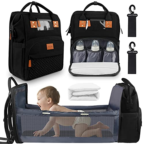 Baby Diaper Bag Backpack with Changing Station, Baby Bag with Foldable Bed, Portable Bassinets with USB Charging Port for Moms Dads, Large Capacity Multi-Function Waterproof Mommy Bag, Black
