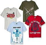 Spotted Zebra Boys' Kids Disney Marvel Short-Sleeve T-Shirts, 4-Pack Star Wars Beep Beep, Medium