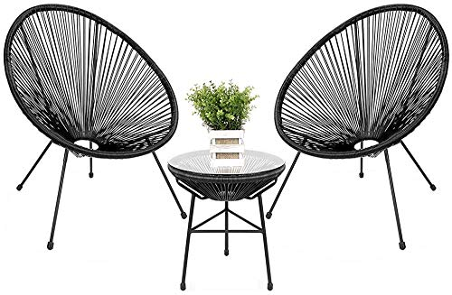 zhangchao Three-Piece Balcony Wicker Chair, Outdoor Leisure Patio Table and Chairs,W/Rope, Glass Top Table,Hand Made