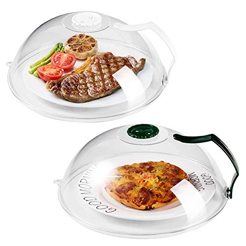 Microwave Splatter Cover Microwave Cover for Foods BPA-Free Microwave Plate Cover Guard Lid with Handle Hanging Hole and Adjustable Steam Vents Microwave Oven Cleaner Large-2 PACK