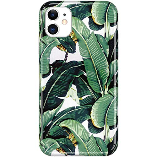VIVIBIN iPhone 11 Case 6.1 inch 2019,Banana Leaves for Women Girls,Clear Bumper Soft Silicone Rubber TPU Cover Slim Fit Protective Phone Case for iPhone 11