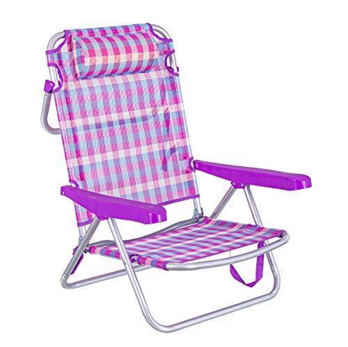 LOLAhome Silla de Playa con cojín de 4 Posiciones de Aluminio y textileno (Rosa y Violeta)