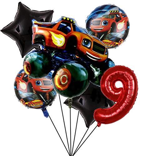 MUYANDZ Globo Decoraciones de Fiesta Blaze Monster Machines de 32 Pulgadas Número Globo Fiesta de cumpleaños Boys Favors Regalos Baby Shower Suministros (Color : Set9)