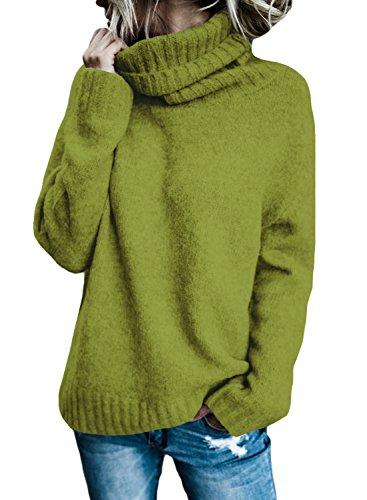 Aleumdr Mujer Pullover de Punto de Moda Sweater de Punto para Mujer Verdr Size M