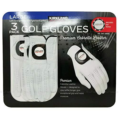 KIRKLAND SIGNATURE Golfhandschoenen voor heren, maat groot, premium 100% cabretta leer, set van 3, L