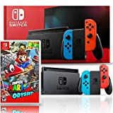 Nintendo Switch with Neon Blue and Red Joy-Con Bundle with Super Mario Odyssey