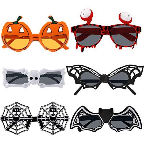 6 Stück Halloween Brillen Fledermaus Kürbis Brillen Cosplay Brillen für Party Gefallen (Stil Set 1)