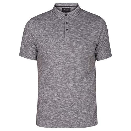 Hurley Men's Mini Striped Slub Textured Short Sleeve Polo, Black/White, L