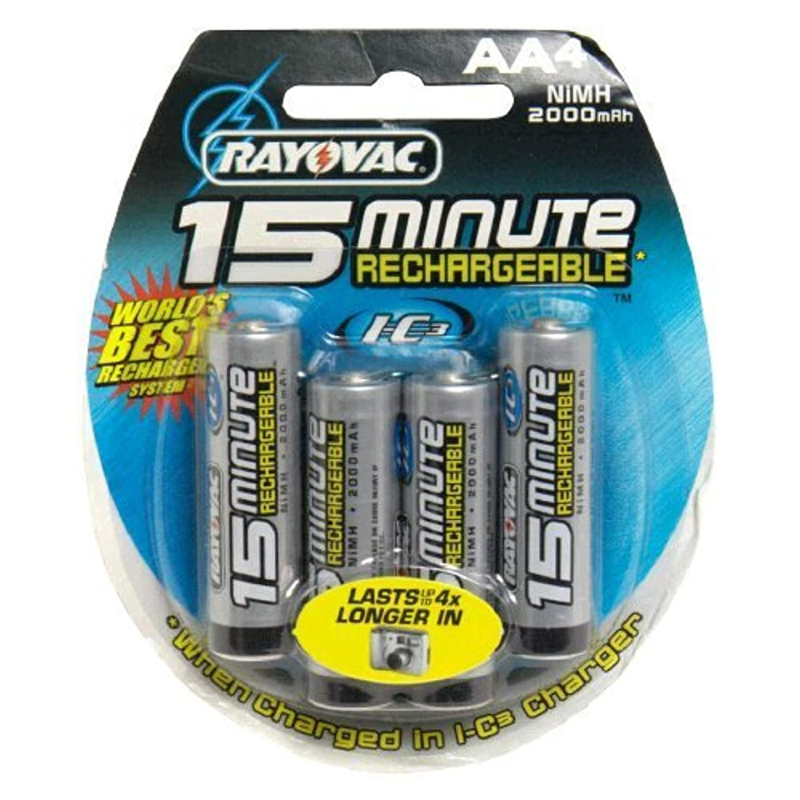 Rayovac I-C3 15 Minute Rechargeable Batteries, AA , 4 batteries (Discontinued by Manufacturer)