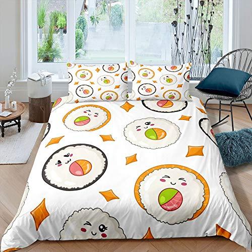 Juego de funda de edredón para niños de sushi, Kawaii, color blanco, para niños, niñas, niños, juegos de cama de comida de estilo japonés, funda de edredón con 1 funda de almohada, tamaño individual