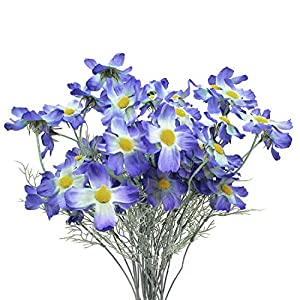 "cn-Knight Artificial Flower 6pcs 27"" Long Stem Silk Coreopsis Calliopsis Galsang Fake Daisy Chrysanthemum for Wedding Bridal Bouquet Bridesmaid Groomsman Home Décor Office Centerpieces"