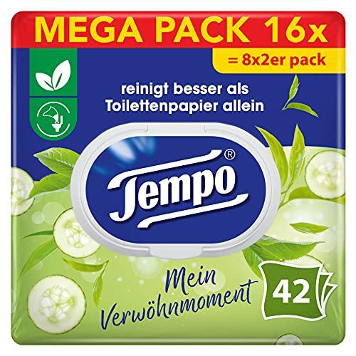 Tempo Toilettenpapier feucht, Grüner Tee & Gurke, 2er Pack(2 x 42 Tücher)