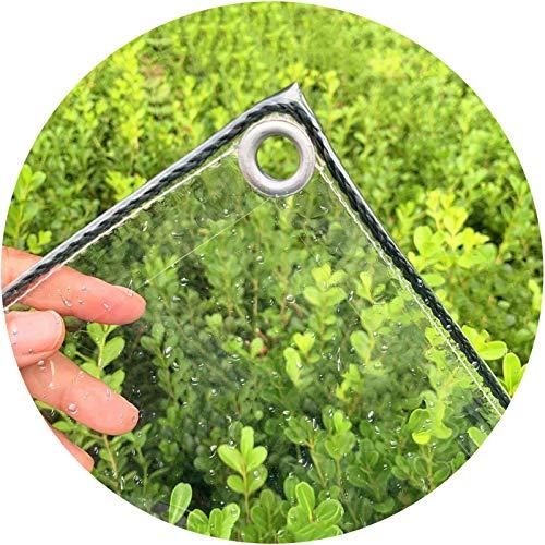 Toldo Impermeable, Aislamiento Antienvejecimiento Vidrio Blando, Ojal Metal Resistencia al Desgarro Impermeable, Espesor 0.3mm LIANGLIANG (Color : Claro, Size : 1.4x2.5m)