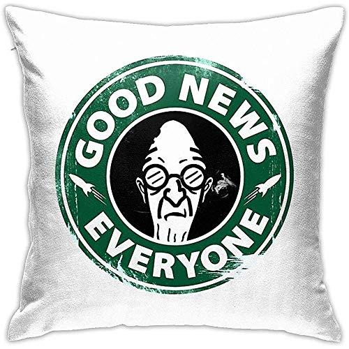 Ahdyr Federe Decorative, buone notizie per Tutti, Bianco caffè 45X45 cm, fodera per cuscino per divano da casa, fodere quadrate