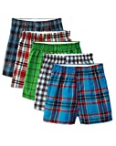 Fruit of the Loom Boys' Woven Boxer, Exposed and Covered Waistband (Pack of 5) (Assorted Plaids, Medium)
