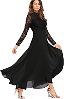 3254a3680d6 Roiii Women s Formal Floral Lace Chiffon Long Sleeve Ruched Neck Long Dress  Evening Cocktail Party Maxi