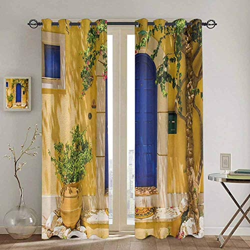 DONEECKL Yellow and Blue Blackout Curtain Liner Traditional Greek House Door with Flowers and Tree Mediterranean Scenery for Living Room or Bedroom W52 x L72 Inch Multicolor